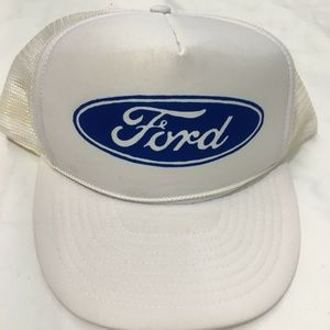 Mens Ford Trucker Hat White Mens